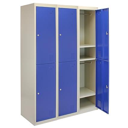 Armadietti In Metallo.Monster Shop 3 X Armadietti In Metallo Due Porte Blu