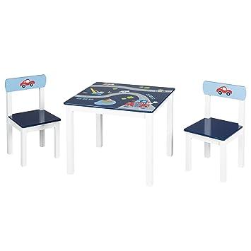 Roba Kinder Sitzgruppe Rennfahrer Kindermöbel Set Aus 2 Kinderstühlen 1 Tisch Sitzgarnitur Mit Fahrzeug Motiven In Blau