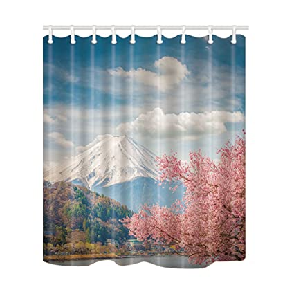 NYMB Mount Fuji And Sakura At Kawaguchiko Japan Shower Curtain Mildew Resistant Polyester Fabric
