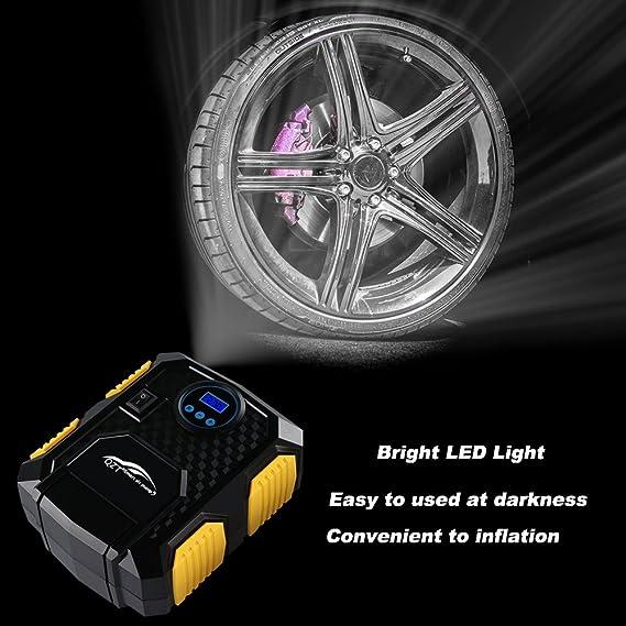 Te-0D 12 V Auto Reifen F/üller Manometer Auto Pumpe Mit Analog Anzeige PQZATX Tragbare Luft Kompressor Pumpe 150 Psi