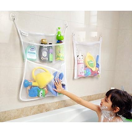 Bad aufbewahrung, Bad Spielzeug Organizer Set(2 Stück), Badezimmer Kinder  Badewanne Netz Taschen mit 4 x Saughaken & 4 x Klebehaken Starke Qualität  ...