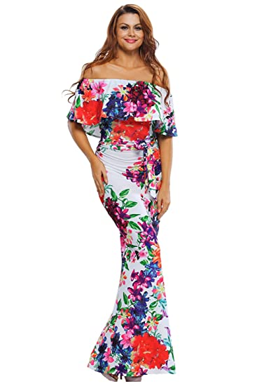 Vestido Para Dama Tipo Campesino Sin Hombros Blanco Con Flores Licra