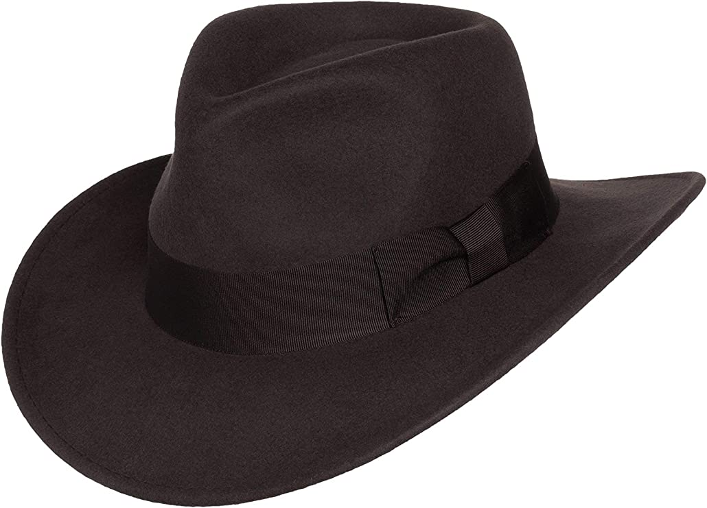 Silver Canyon Boot and Clothing Company Chapeau Fedora Outback Indiana en Feutre de Laine broyable pour Homme