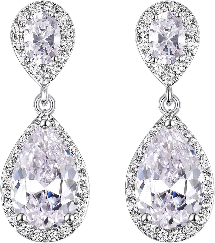EVER FAITH Women's Cubic Zirconia Bridal Jewelry Teardrop Dangle Earrings for Women or Brides