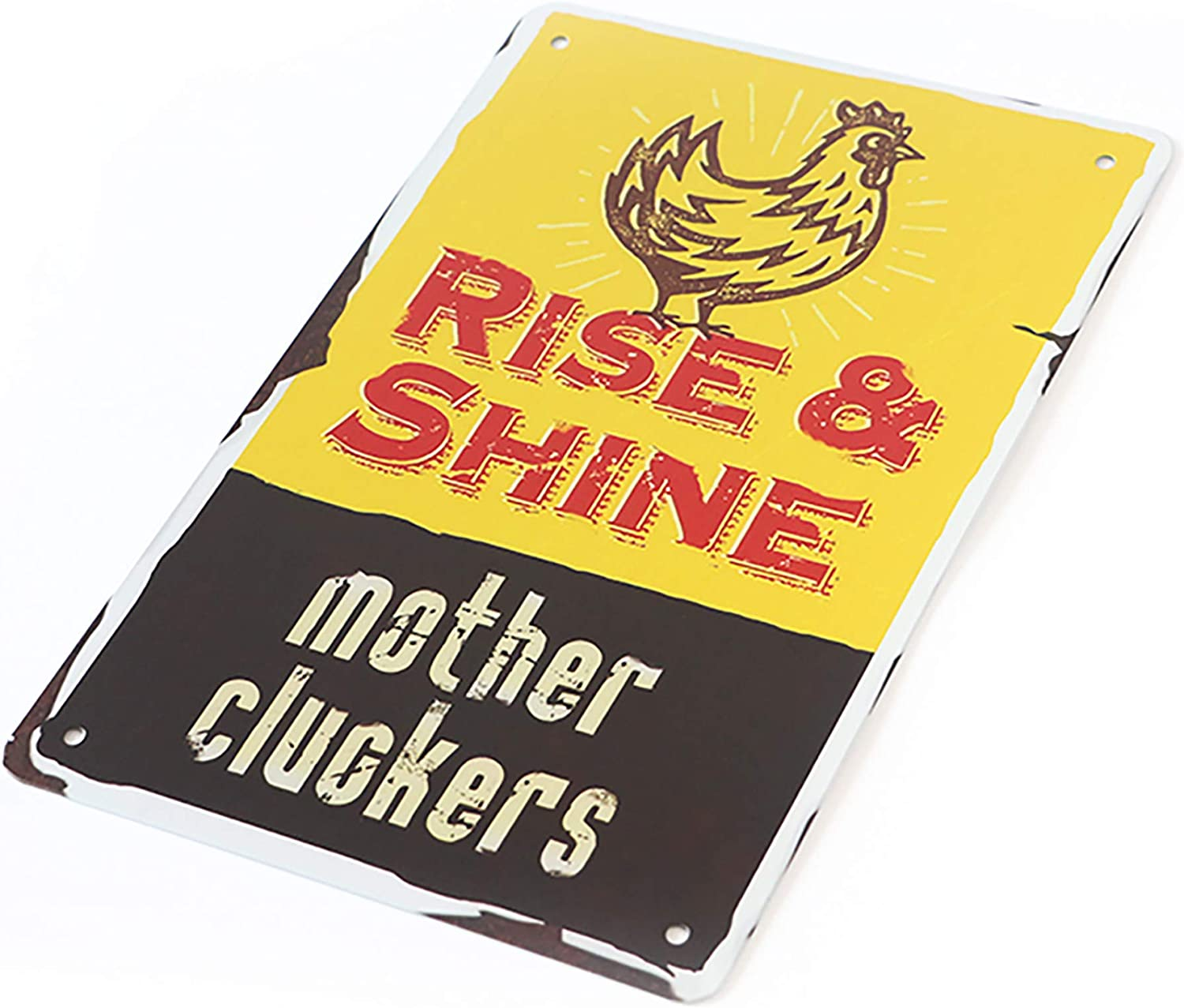 MeowPrint Chicken Décor Rise and Shine Mother Cluckers Country Home Decor Coop Tin Sign 8x12IN