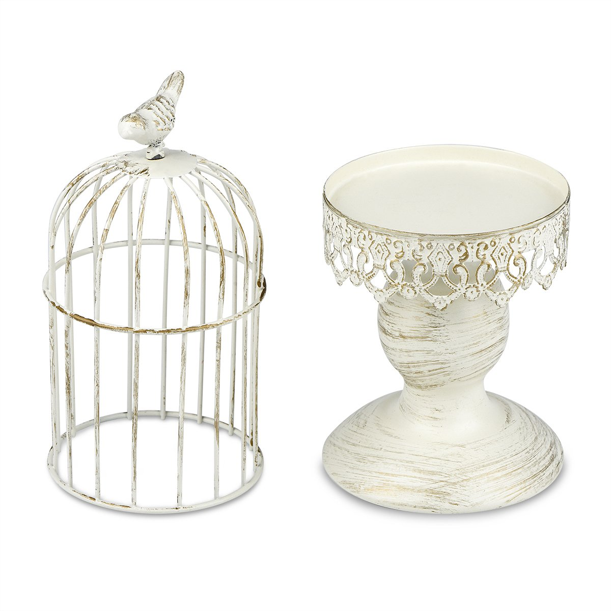 Candle Holder Metal Birdcage Vintage Candlestick Decoration Candle Stick Holder for Wedding Centerpieces Birthday Party Christmas Valentine's Day Dining Table Home Decoration(Birdcage-Black) QiLi