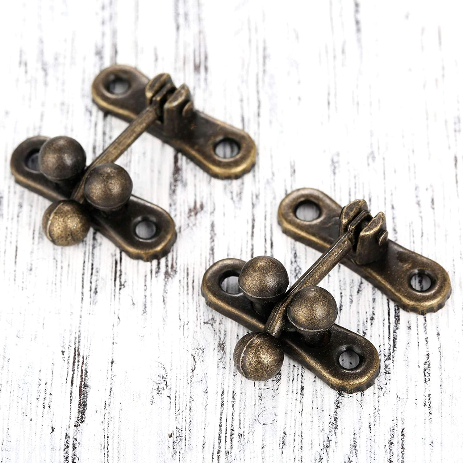 5 Sets Antique Brass Latch Hasps Decorative Bronze Vintage Locks with Screws for Jewelry Case Wooden Boxes Length Width: 1-5//161-1//4