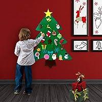 O-heart DIY Felt Christmas Tree Set + 31pcs Detachable Ornaments, Best Xmas Gifts for Kids Wall Hanging Christmas…