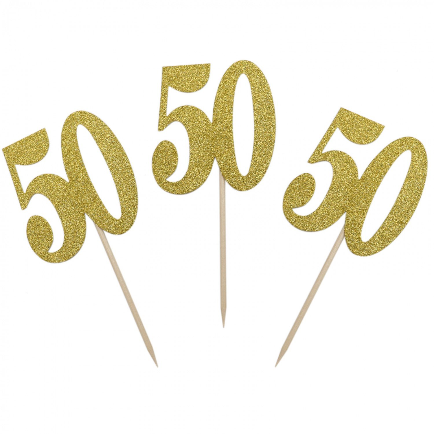 IDS Pack of 20 Number 50 Gold Glitter Cupcake Toppers for Anniversary Reunion 50th Birthday by IDS