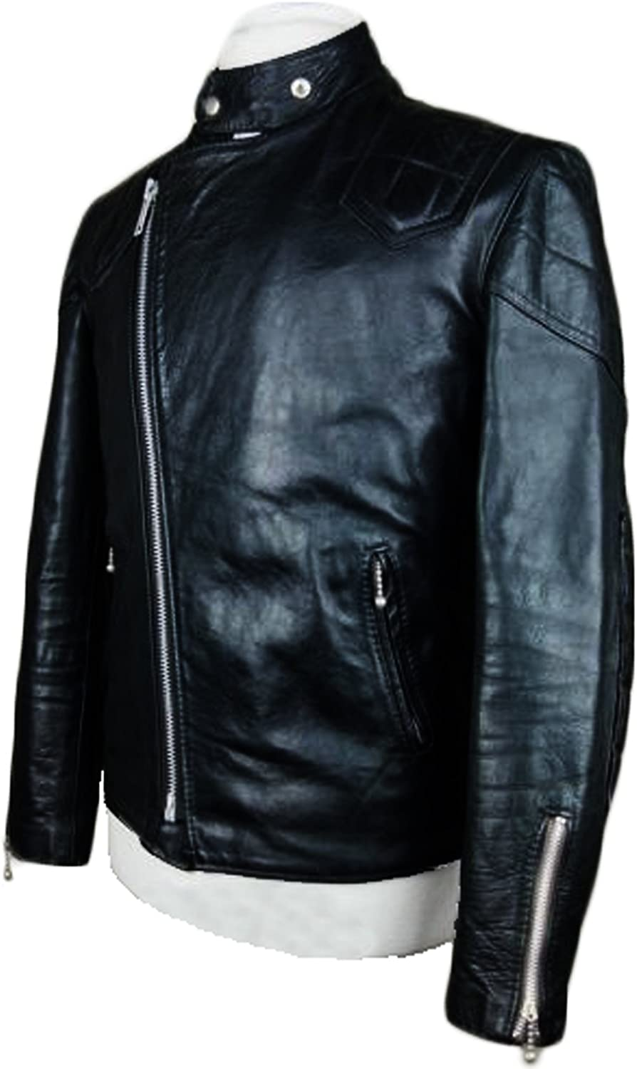 Kingdom Leather Men Leather Jacket Coat Motorcycle Biker Slim Fit Outwear Jackets XC1167