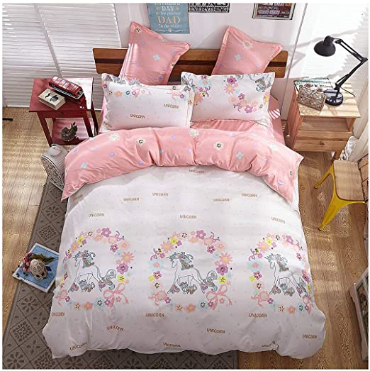 Amazon Com Kfz Girls Magic Unicorn Bed Set 4pcs Full Size