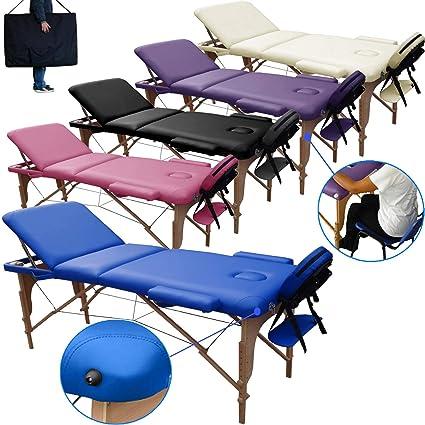 Lettino Massaggio 3 Zone In Legno Portatile Dimensione 180x56 Cm
