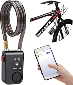 wsdcam Bluetooth Bike Lock Alarm 110dB Universal Security Smart Bike Alarm Lock System Anti-Theft Vibration Alarm for Bicycle Motorcycle Door Gate Lock, 31.49 inch Cable Length, APP Control