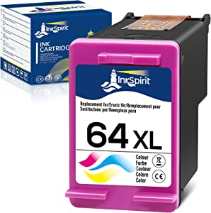 InkSpirit Remanufactured Ink Cartridge Replacement for HP 64 64XL 64XL Tri-Color for Envy Photo 7800 7858 7155 7855 6255 6252 7158 7164 6222 7120 7130 Tango X Smart Home Wireless ( 1 Color )