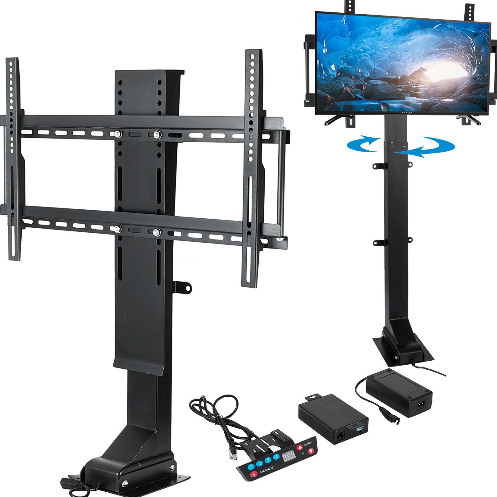 Mophorn TV Lift Motorized 32''-70''Adjustable TV Lift Mechanism 120 Degree Rotate with Remote Controller for Plasma LCD LED TV and Monitors