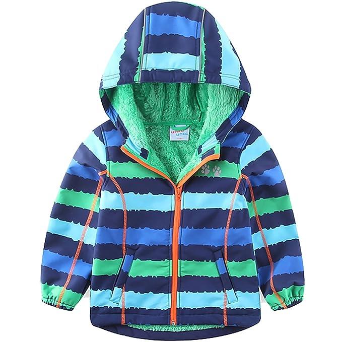 umkaumka Chaqueta Cortavientos Impermeable para Niños y Niñas de Softshell Forrada de Borreguito con Capucha de 1 a 7 Años