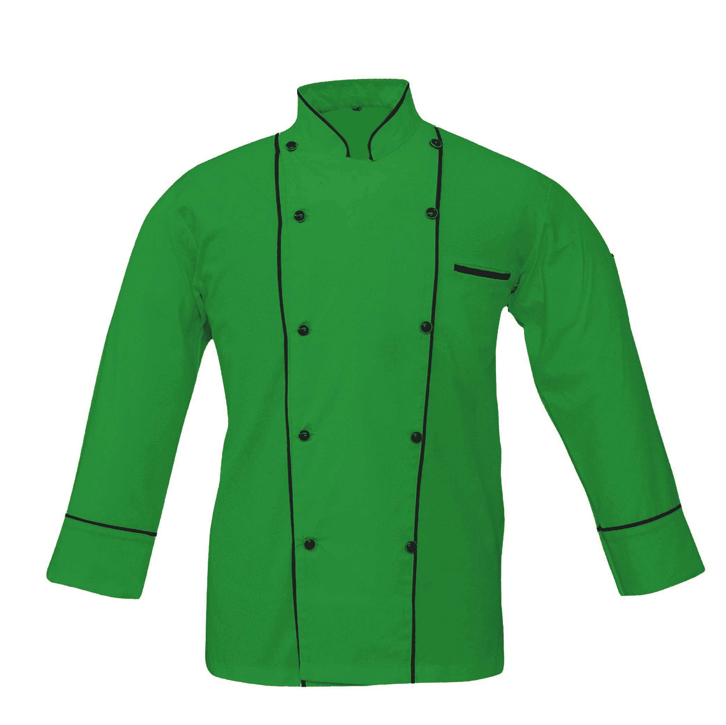Leorenzo Creation PP-77 Men's Chef Coat with Double Piping (Size- M, Green Colour)