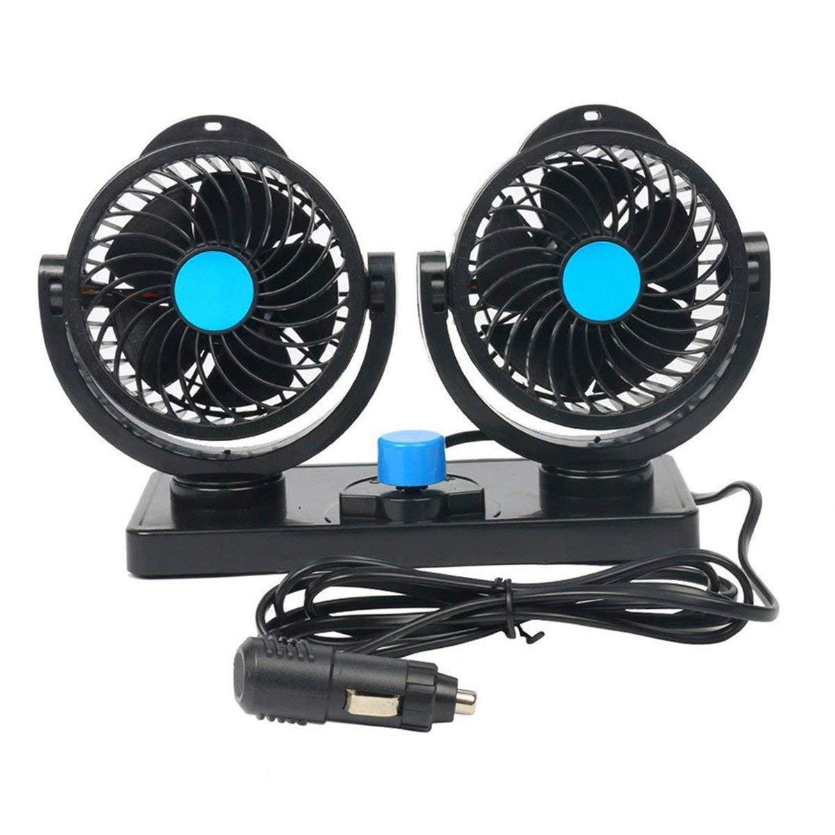 FreeTec 360 Rotating Free Adjustment 12V Car Fan - Dual Head Car Auto Cooling Air Fan Powerful Low Noise 2 Speed Rotatable Ventilation Dashboard Electric Vehicle Car Fans Summer Cooling Air Circulator freebirdtrading FT0123