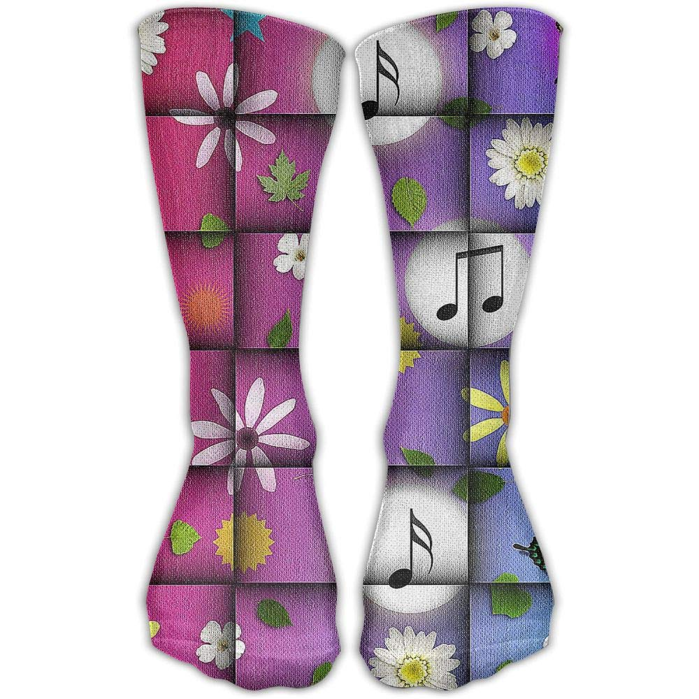 Protect Wrist For Cycling Moisture Control Elastic Sock Tube Socks Flower Butterfly Music Notation Athletic Soccer Socks