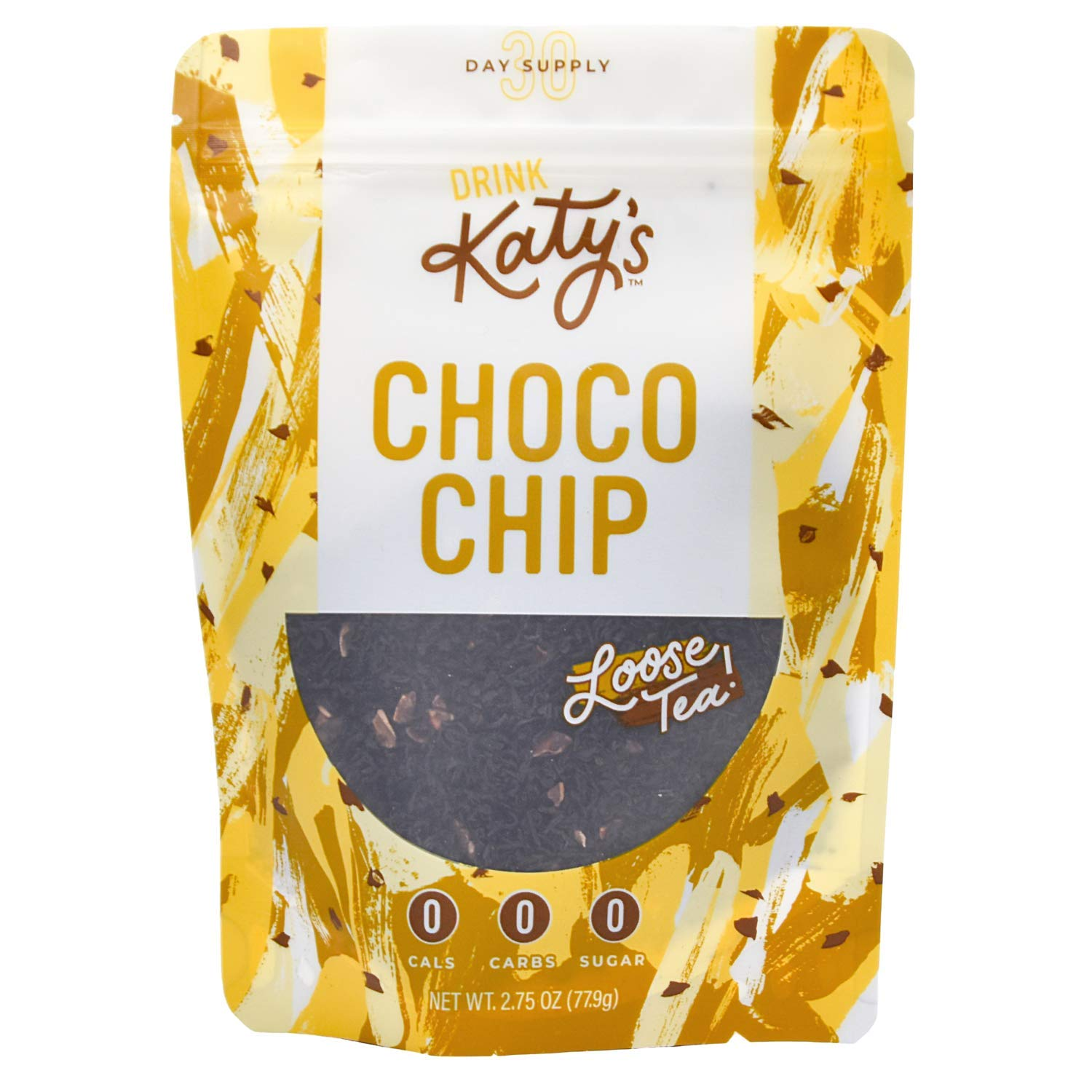 Katy's Choco Chip Tea - Chocolate Loose Leaf Black Tea (30 Day Supply, 60 Tsps) Sugar Free, Dairy Free - Coffee Replacement, Delicious Dessert Flavor, Hot or Iced
