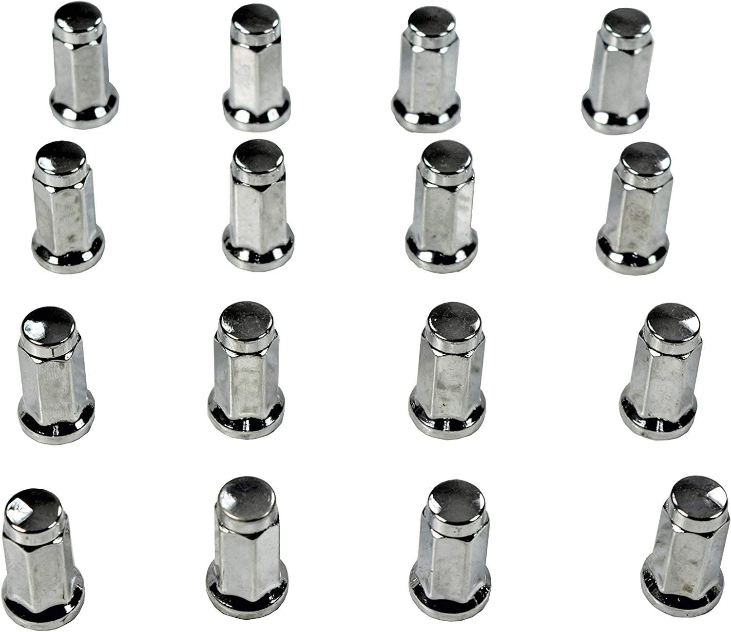 MASSFX 14mm Hex 16 Count Lug Nuts Black and Chrome for Honda and Yamaha Sport ATV 10x1.25 32mm Chrome - Yamaha