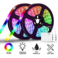 2 Piece Solmore 6.6FT/2M RGB LED Light Strip Kit for Home Bedroom DIY Party Indoor Outdoor