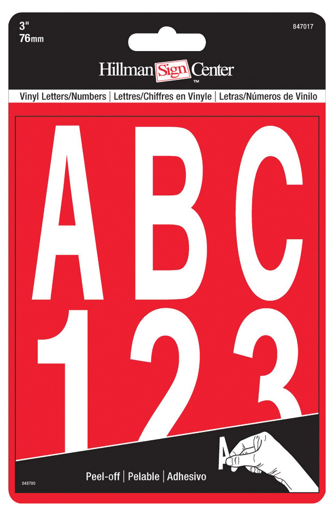 The Hillman Group 847017 3-Inch Die-Cut Letters/Numbers Kit, White