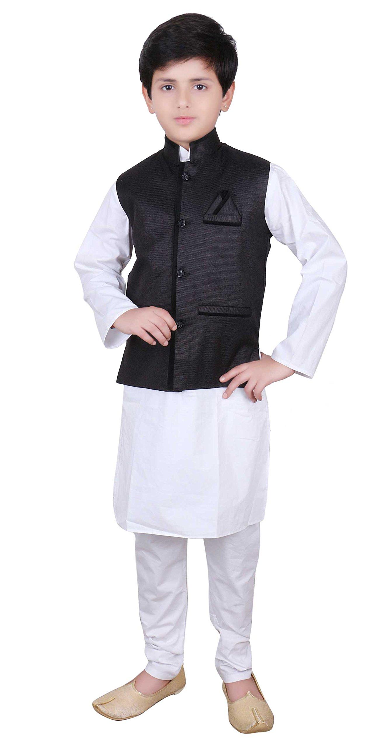 Boys Indian Modi Nehru Gandhi Style Waistcoat in Jute for Bollywood theme party wear 006 (4 (4 yrs), Black)