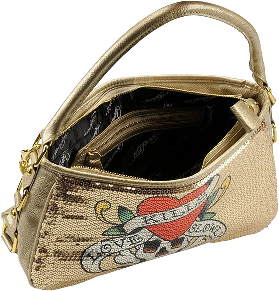 Jolly Roger Love Kills Slowly Agnes Hobo Bag Gold