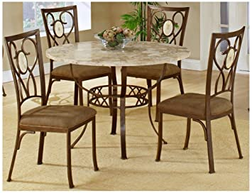 Amazon.com   Hillsdale Brookside Round 5 Piece Dining Set With Oval Back  Chairs, Brown Powder Coat Finish, Set Includes 1 Table And 4 Chairs   Table  U0026 Chair ...
