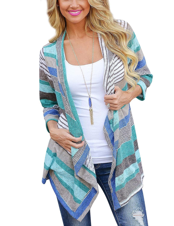 Yidarton Damen Strickjacke Langarmshirt Irregular Colorful Striped Baumwolle Kimono Cardigan Oberteil Mantel Cover up Outwear