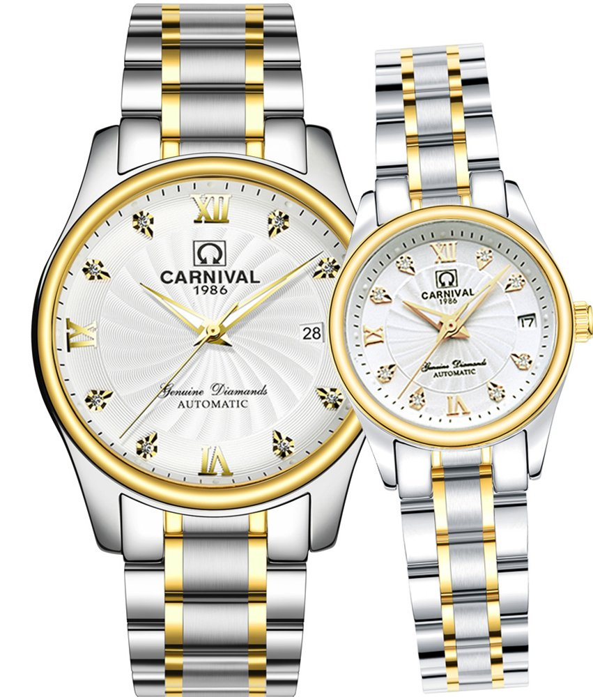 CARNIVAL Mechanical Couple Watches Men and Women His or Hers Gift Set of 2 (Gold White)