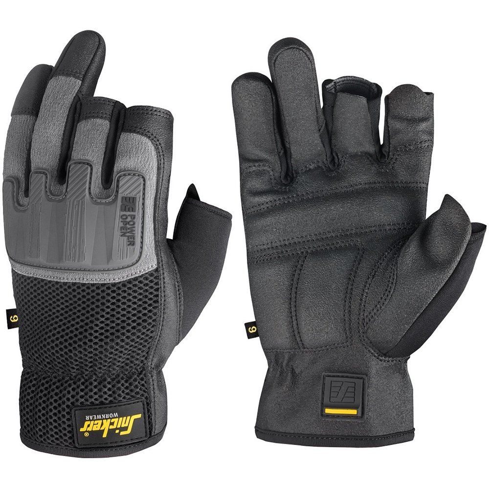 Snickers 95860448009 Power Open Gloves, 9, Black/Grey by Snickers (Image #1)