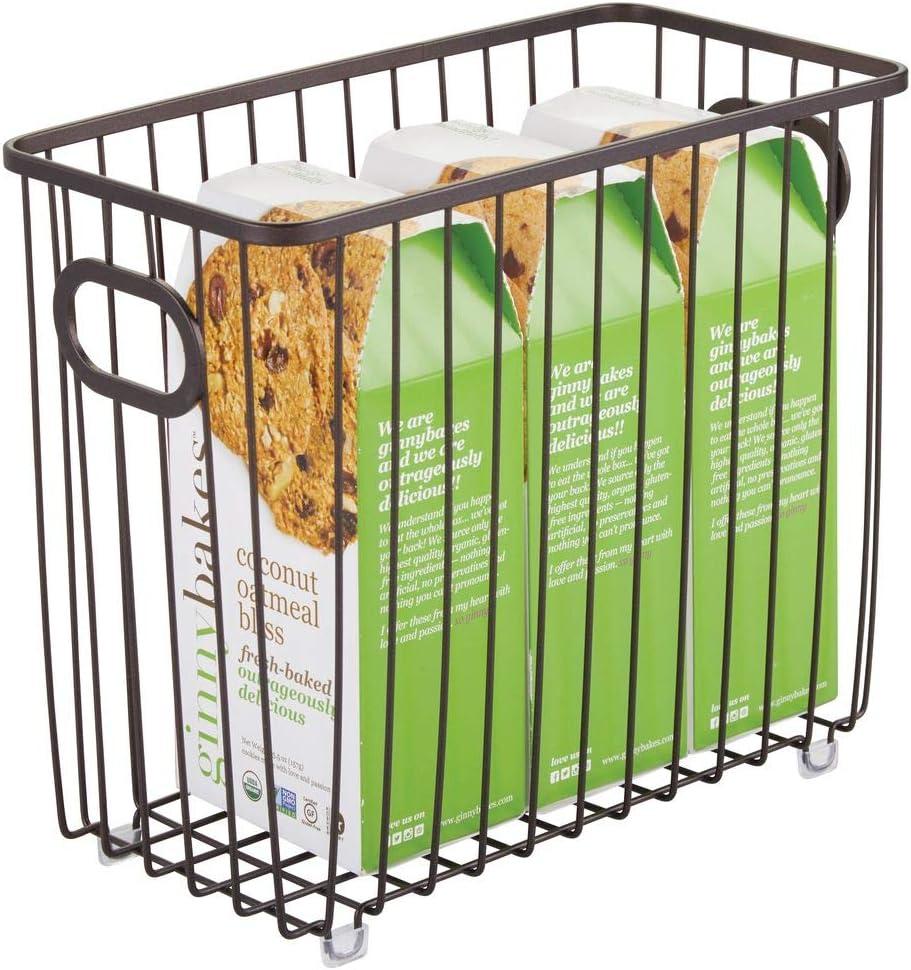 Vers/átiles organizadores de cocina o despensa mDesign Cesta de metal para cocina color bronce Cesto de alambre compacto y universal con asas integradas