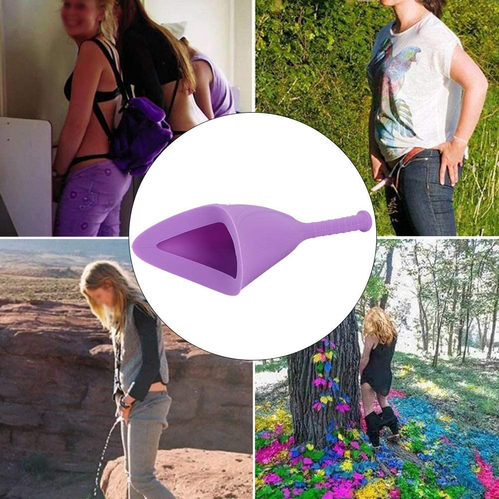 Gel de s/ílice m/édico Plegable Embarazadas Mujeres Embudo Orinal Reutilizable Viaje Camping Dispositivo de orina Emergencia al Aire Libre Se/ñora Orinal p/úrpura