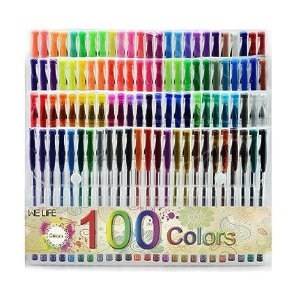 welife 100 único de colores no tóxicos con purpurina bolígrafos de gel, perfecto para adulto y libros para colorear para niños manualidades garabateando ...