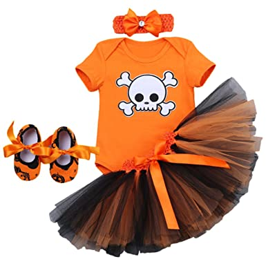 8854be2e8e0a Newborn Infant Baby Toddlers Girls My 1st Halloween Pumpkin Skull Rompers  Cake Crown Tutu Dress with Headband Leg Warmer Shoes Children Tulle Outfits  Photo ...