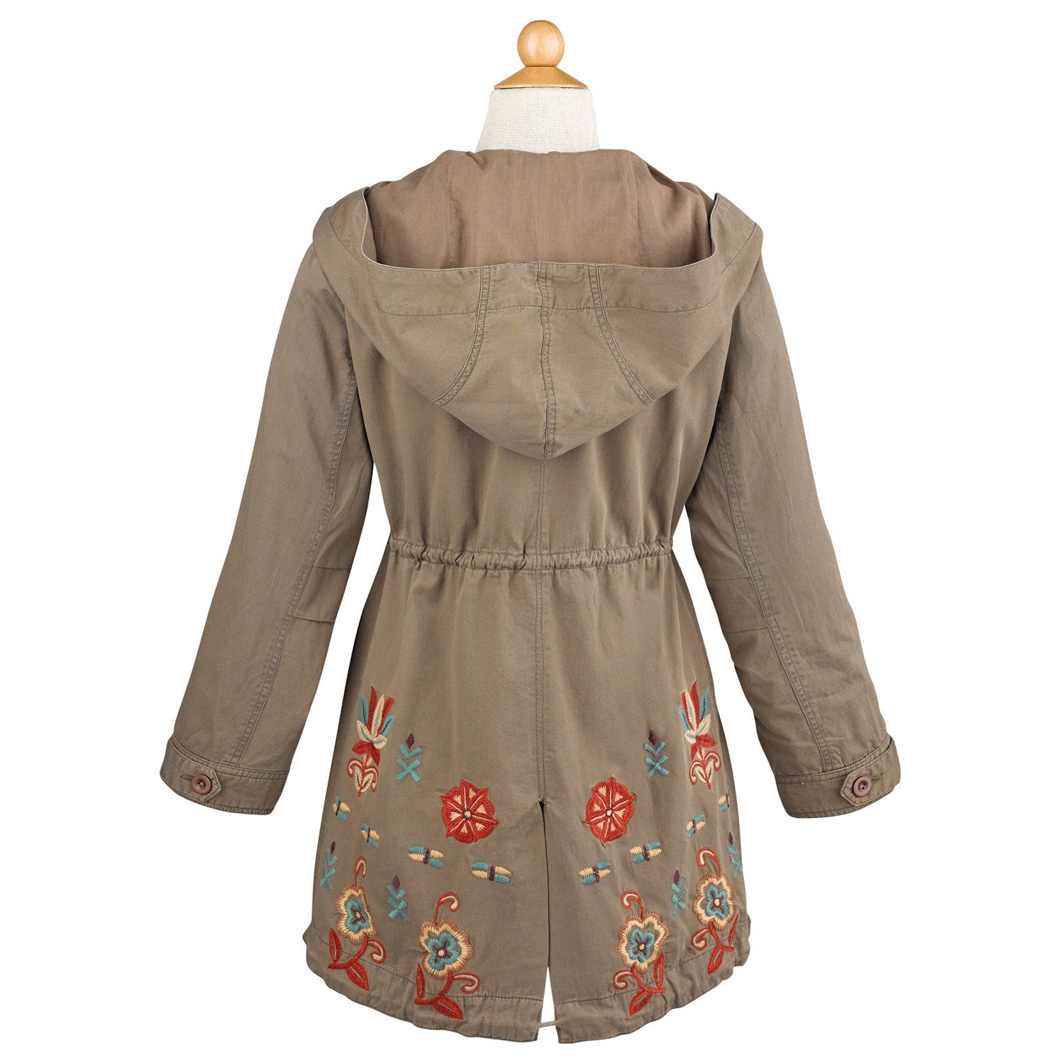 f2821d0b1 Amazon.com  Women s Floral Embroidered Jacket - Cotton Twill Army ...