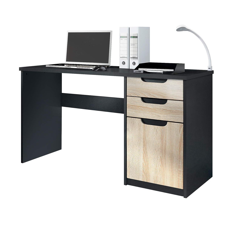 Vladon Schreibtisch Computertisch Büromöbel Logan, Korpus in Schwarz matt Fronten in Eiche sägerau