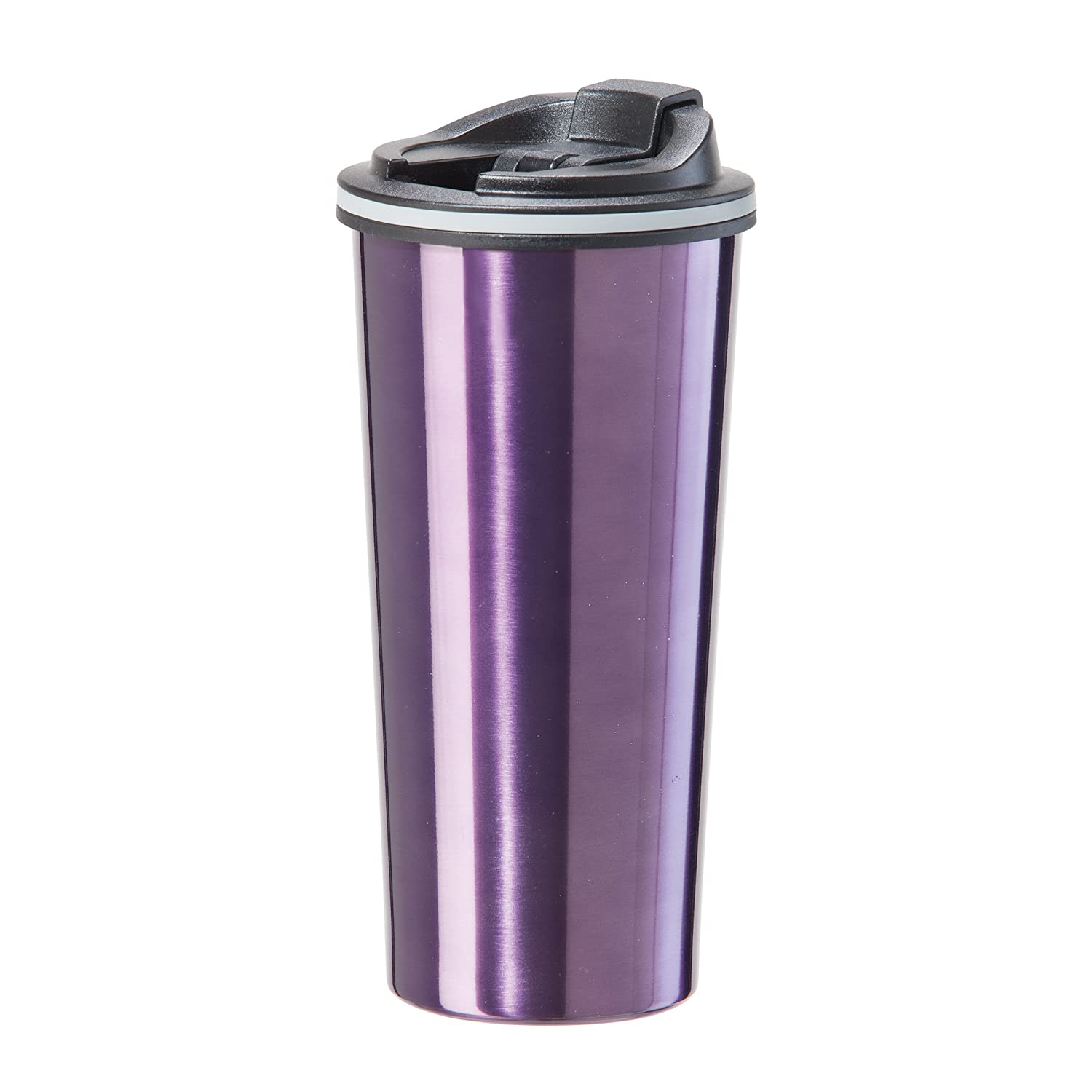 feb4ed60fb3 Amazon.com: Oggi 8063.8 Double Wall Stainless Steel Travel Mug with Stainless  Steel Liner and Flip Open Top, 0.5 L/16 oz, Purple: Kitchen & Dining