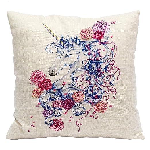 Funda de cojín con patrón de unicornio para sofá o cama ...