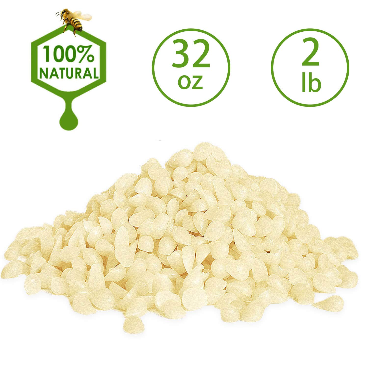 White Beeswax Pellets 2LB/ 32 oz 100% Pure and Natural Triple Filtered for Skin, Face, Body and Hair Care DIY Creams, Lotions, Lip Balm and Soap Making Supplies.