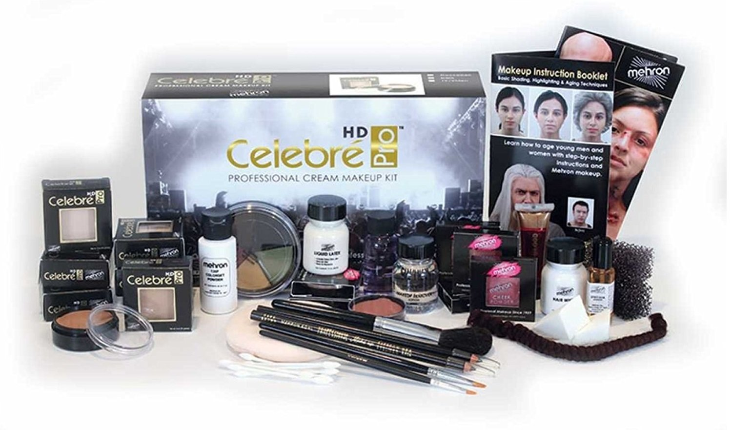 Mehron Celebré Professional HD Cream Makeup Kit |Complete Makeup Artist Beauty Set for Theatre, Stage, Movies, Special Effects, Videos, Photography|Skin, Eyes & Hair Contouring (Caucasian) by Mehron (Image #1)