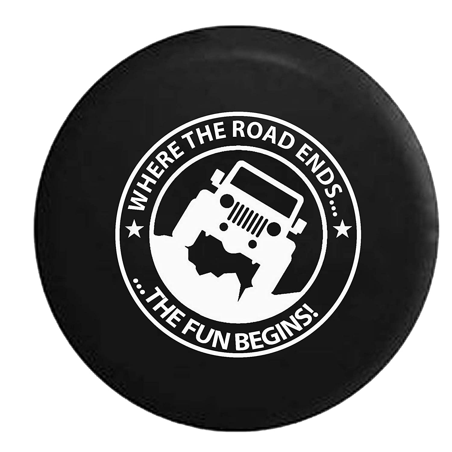 Where the Road Ends the Fun Begins Spare Tire Cover Vinyl Black 33 in American Unlimited 5558998242