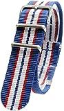 [2PiS] ( トリプルグレーブルー・ダブルレッド・ホワイト : 20mm ) NATO 腕時計ベルト ナイロン 替えバンド ストラップ 交換マニュアル付 126-1-20