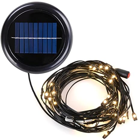 Superbe AMPERSAND 9 Ft. 8 Rib Offset Patio Umbrella Solar String Lights (Warm