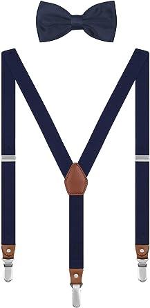 Irypulse Conjunto Tirantes y Pajarita Para Hombre Adolescentes con 3 Clips Retro Y-Forma Chic Longitud Ajustable Elástico Para Altura 150-180 cm - Azul marino: Amazon.es: Ropa y accesorios