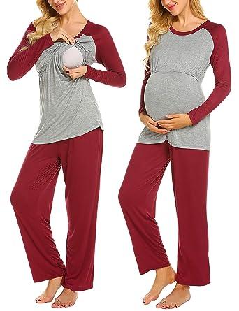 7c6ae7af694 Ekouaer Ultra Soft Long Sleeve Maternity   Nursing Pajamas - Pants Set  Winter Spring (Wine