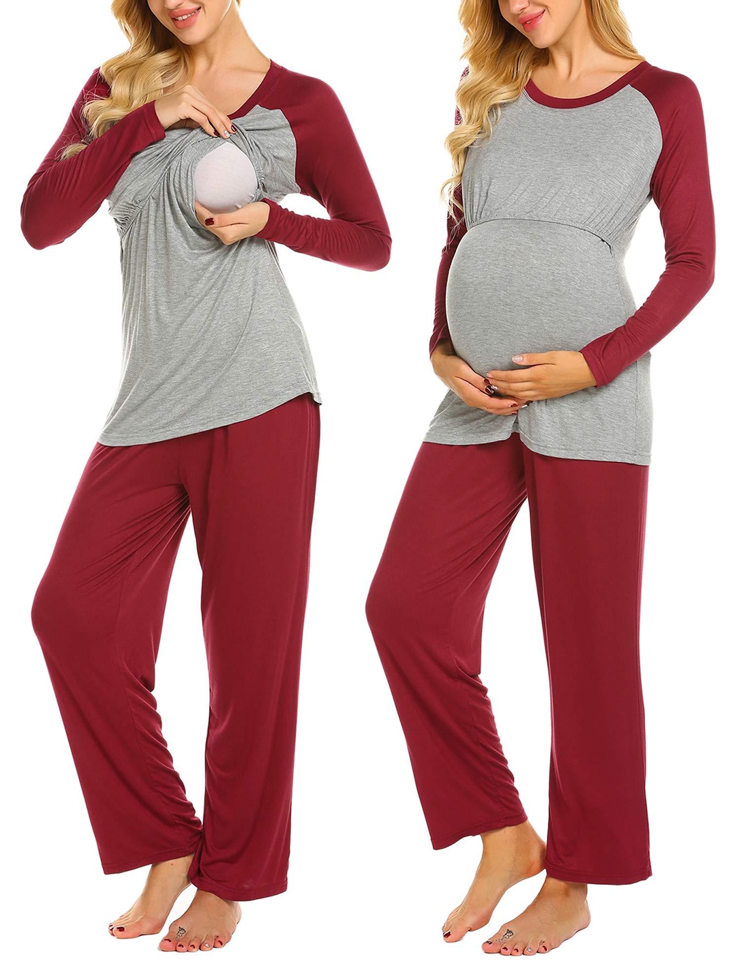 Ekouaer Cotton Maternity Loungewear Nursing Pajama Pants Set (Wine Red XXL)