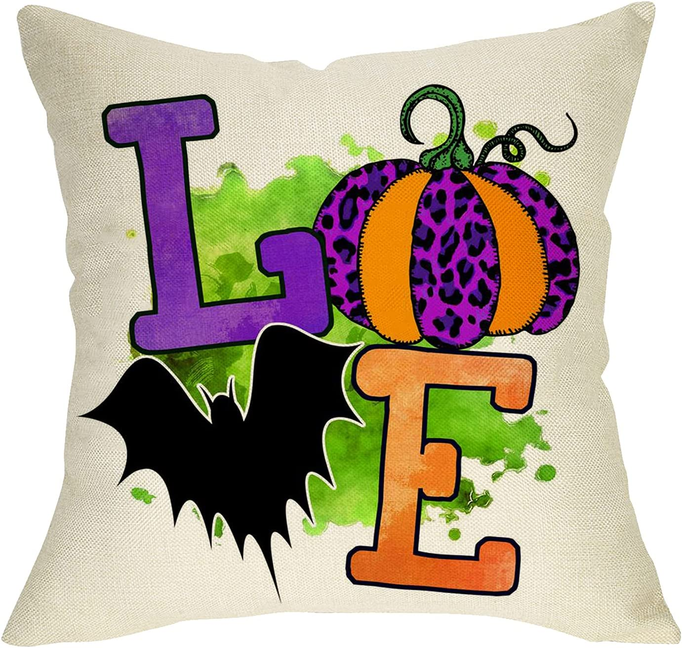 Softxpp Love Decorative Halloween Throw Pillow Cover, Leopard Pumpkin Bat Cushion Case Fall Autumn Home Decoration, Purple Orange Square Pillowcase Seasonal Decor for Sofa Couch 18 x 18 Cotton Linen